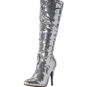 👢 Silver Sequin High Heel Boots 10 NIB 👢